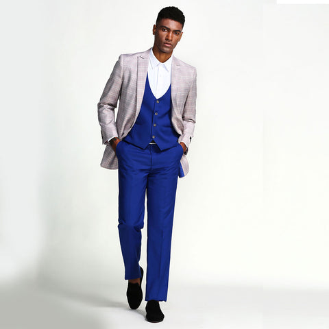 Grey and Blue Windowpane Slim Fit Three Piece Prom Suit