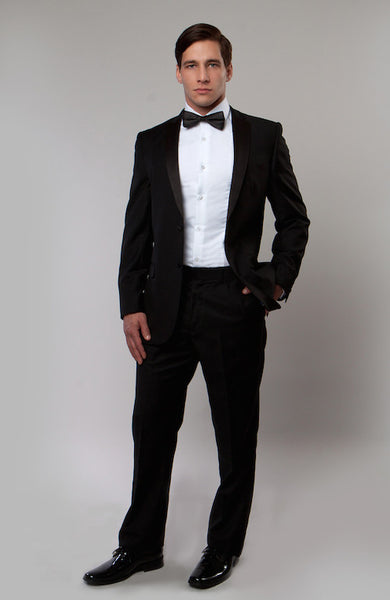 Black 2 Button Notch Lapel Slim Fit Tuxedo