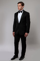 Black One Button Peak Lapel with Satin Shawl Collar Tuxedo