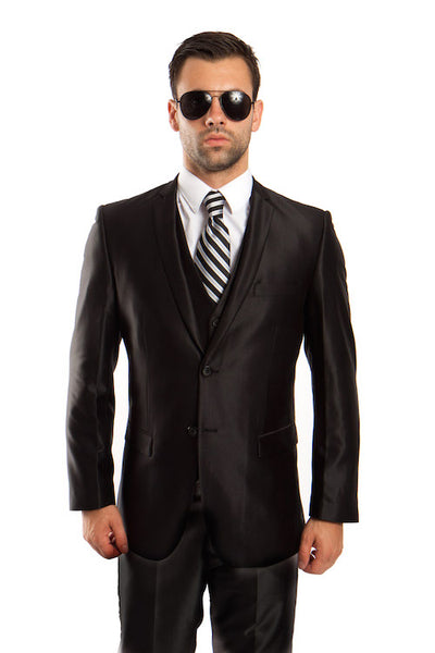 Men's Black Three-Piece Shiny Vested Suit