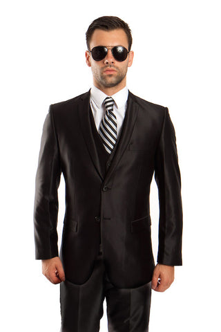 Black Shiny Vested Suit