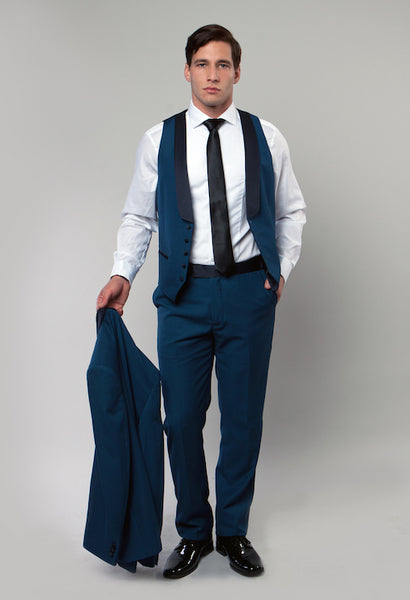 Blue 3 Piece Vested Shawl Lapel Tuxedo