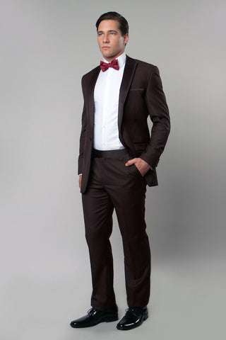 Brown 1 Button Peak Lapel Tuxedo
