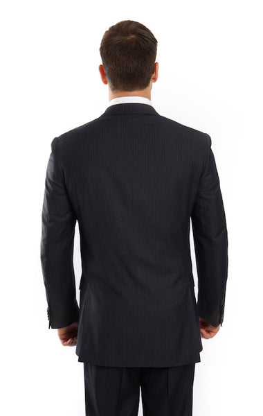 Navy 100% Wool Stripe Suit