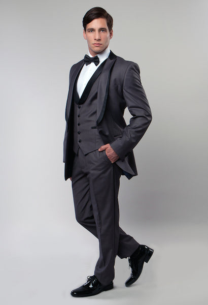 Grey 3 Piece Vested Shawl Lapel Tuxedo