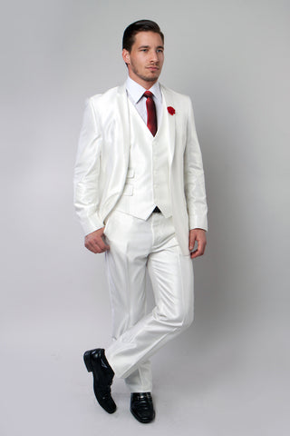 Ivory Shiny Vested Suit