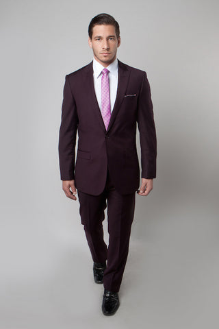 Plum One Button Slim Fit Suit