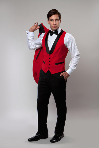 Red 3 Piece Vested Shawl Lapel Tuxedo