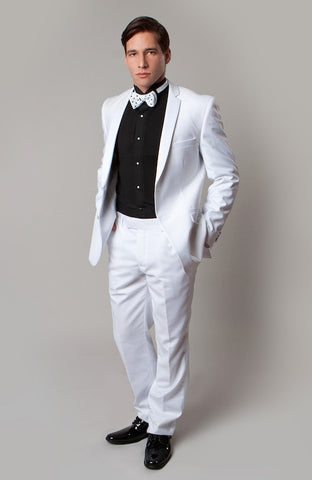 White 2 Button Notch Lapel Slim Fit Tuxedo