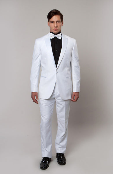 White One Button Satin Peak Lapel Formal Tuxedo