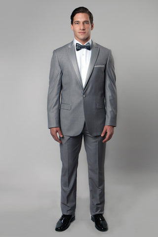 Grey 1 Button Peak Lapel Tuxedo