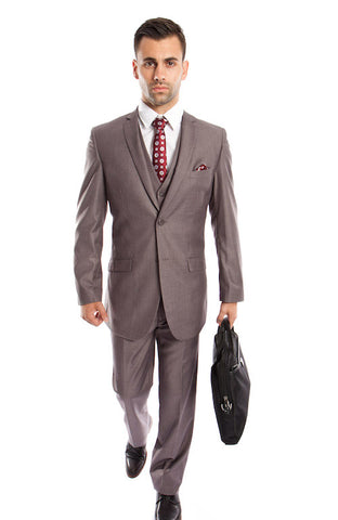 MidGrey 3 Piece Slim Fit Vested Suit