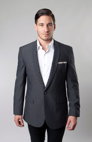 Grey Polka Dot Pattern Lapel Blazer