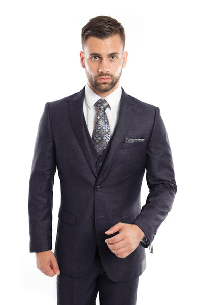 Navy Birdseye Peak Lapel Three Piece Suit