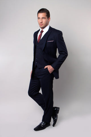 Navy Tone on Tone Stripe Three Piece Suit