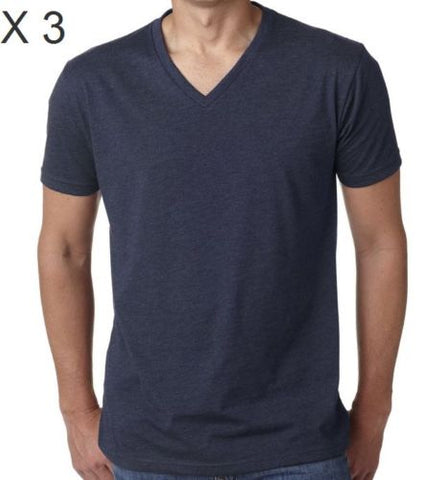 Men's Cotton Navy V-Neck T-Shirt
