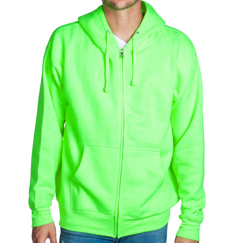 Neon Green Zip Up Hoodie Sweatshirt