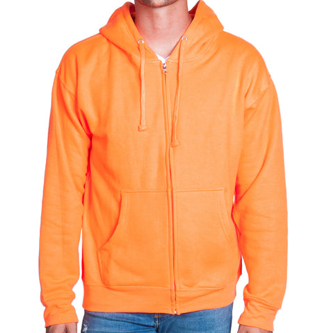 Neon Orange Zip Up Hoodie Sweatshirt