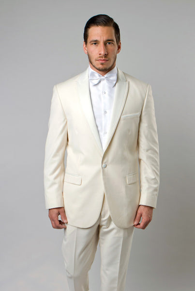 Off White 1 Button Peak Lapel Tuxedo