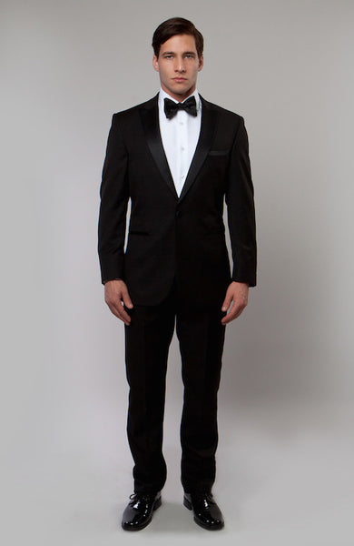 Black 1 Button Peak Lapel Tuxedo