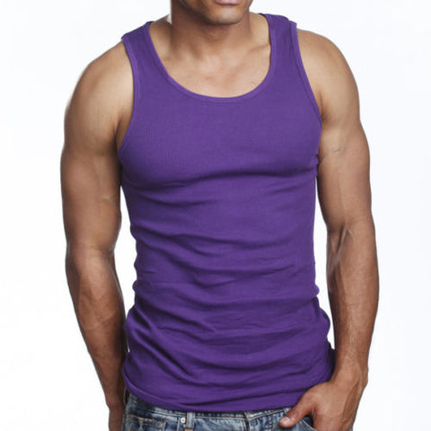 Men's 6 Pack A Shirts Cotton Tank Top Purple Undershirt