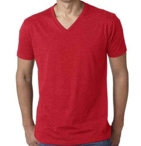 Men's Cotton Red V-Neck T-Shirt