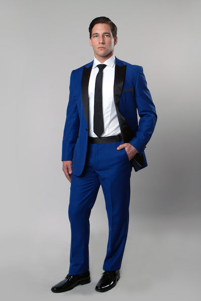 Blue 1 Button Peak Lapel Tuxedo