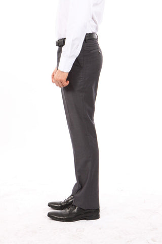 Charcoal Slim Fit Flat Front Dress Pants