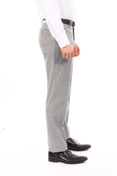 Light Grey Slim Fit Flat Front Dress Pants