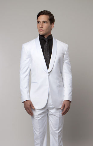 White 1 Button Shawl Lapel Slim Fit Tuxedo