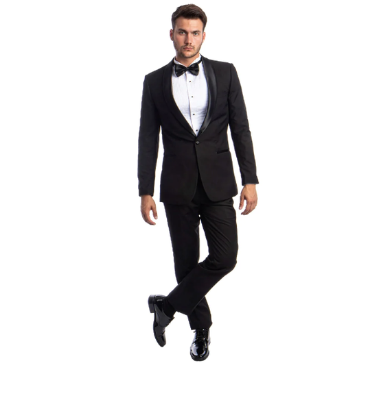 Black One Button Shawl Collar Tuxedo