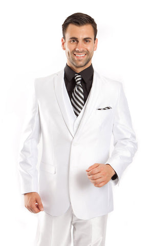 White Shiny Vested Suit