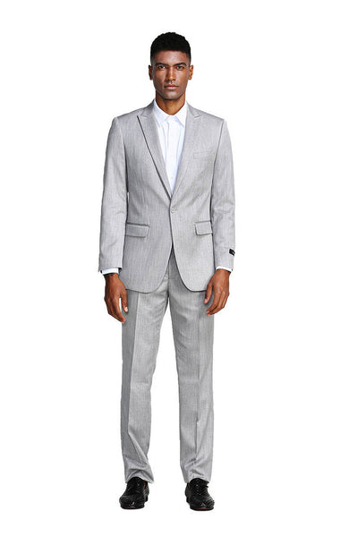 Silver Slim Fit Peak Lapel Suit