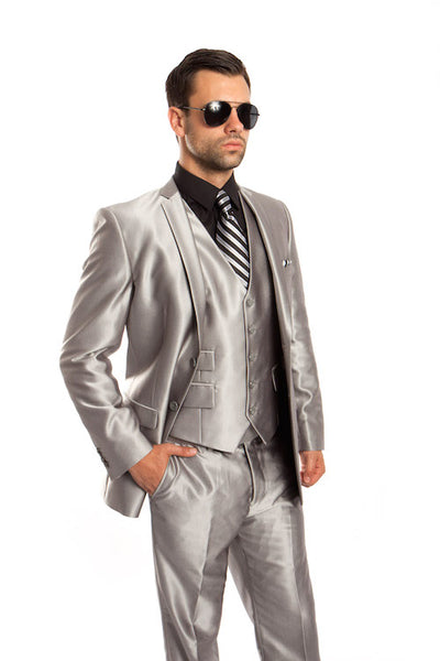 Silver Shiny Vested Suit