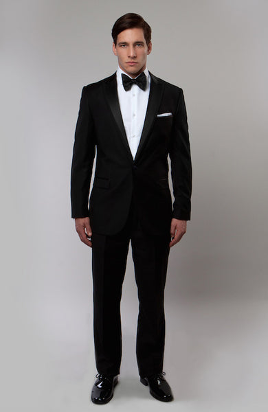 Black One Button Satin Peak Lapel Slim Fit Tuxedo
