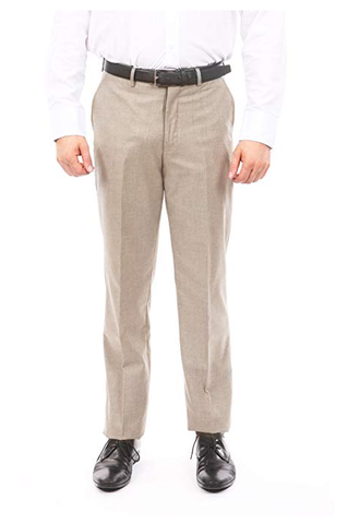 Tan Slim Fit Flat Front Dress Pants