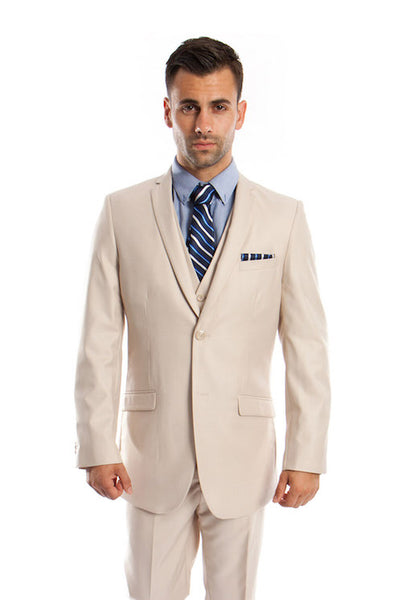 Tan Solid Modern Fit Vested Suit