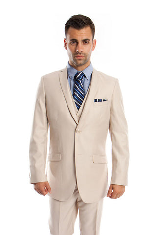 Tan 3 Piece Slim Fit Vested Suit