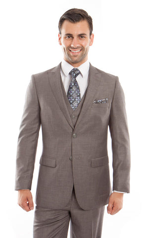 Taupe Birdseye Peak Lapel Three Piece Suit