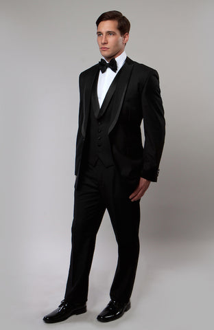 Black 3 Piece Vested Shawl Lapel Tuxedo