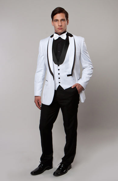 White 3 Piece Vested Shawl Lapel Tuxedo