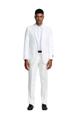 White Slim Fit Peak Lapel Suit