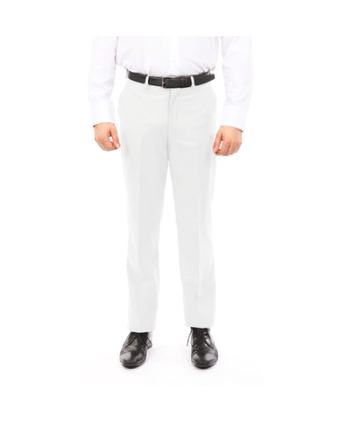 White Slim Fit Flat Front Dress Pants
