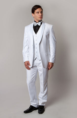 White 3 Piece Vested Slim Fit Tuxedo