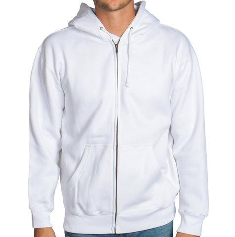 White Zip Up Hoodie Sweatshirt