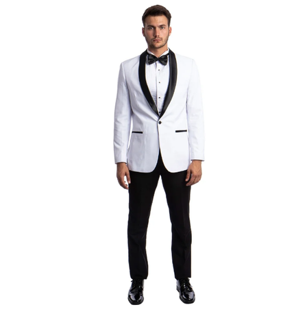 White One Button Shawl Collar Tuxedo