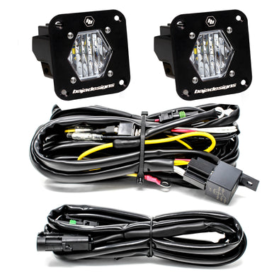 Baja Designs S1, Pair, Wide Cornering LED, Flush Mount, Backup Kit
