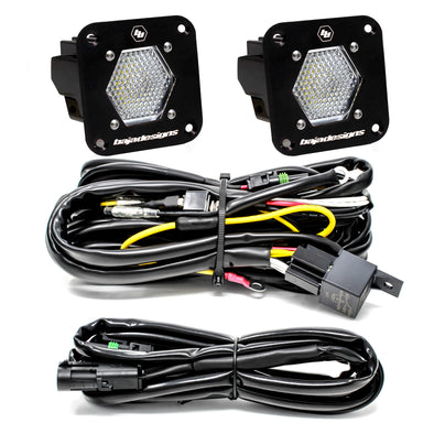 Baja Designs S1, Pair, Work/Scene LED, Flush Mount, Backup Kit