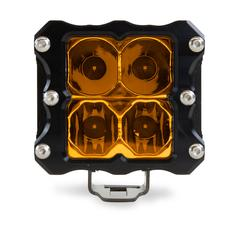 HERETIC 6 SERIES QUATTRO LIGHT - PAIR, Flood, Amber W/ Harness