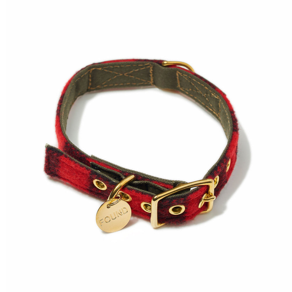 Buffalo Plaid Wool Cat & Dog Collar